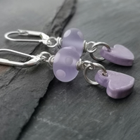Lilac polka dot glass bead and ceramic heart earrings, silver plated