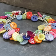 Rainbow button bracelet with heart shaped toggle clasp