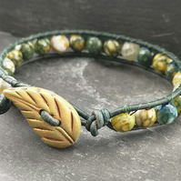 Yellow green fire agate and leather bracelet with leaf button