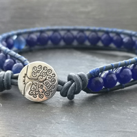 Semi precious navy blue agate and leather bracelet