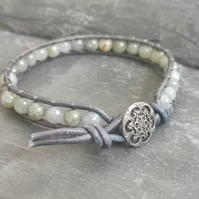 Labradorite and grey leather bracelet with button fastener, semi precious