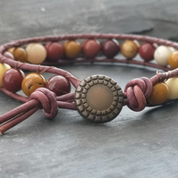 Mookite semi precious bead and brown leather bracelet with button fastener