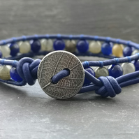 Labradorite and blue agate bead and blue leather bracelet with button fastener