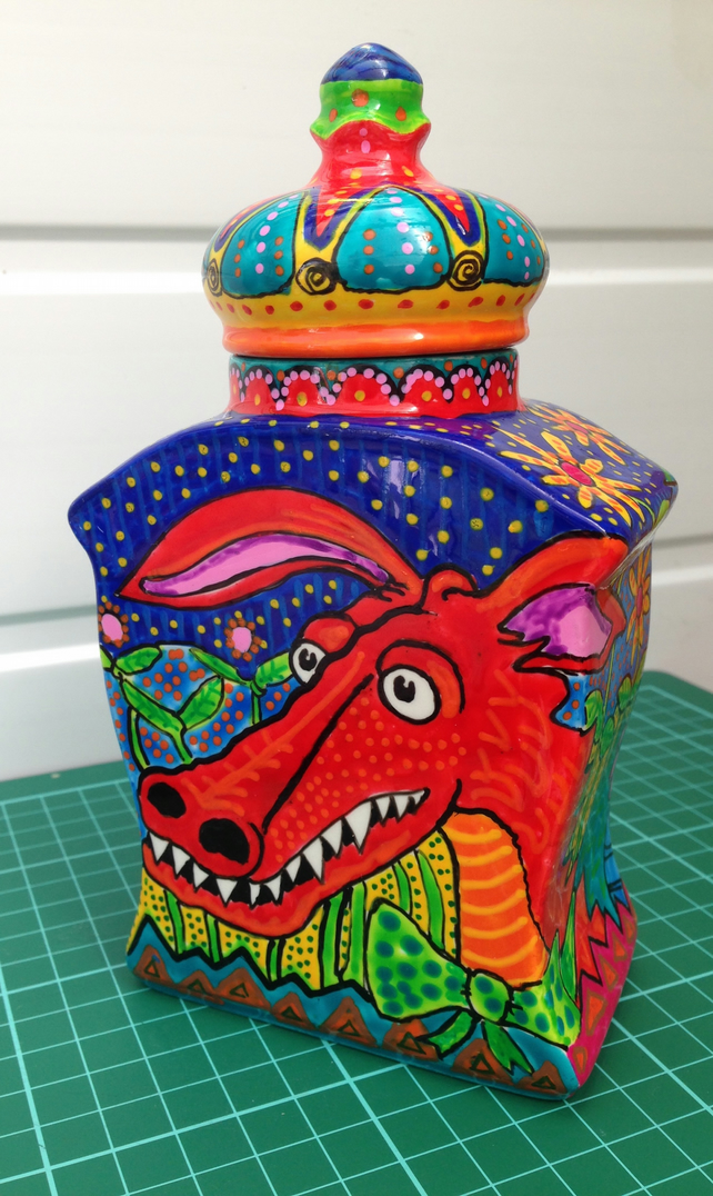 Handpainted Dragon Lidded Vase. One off piece