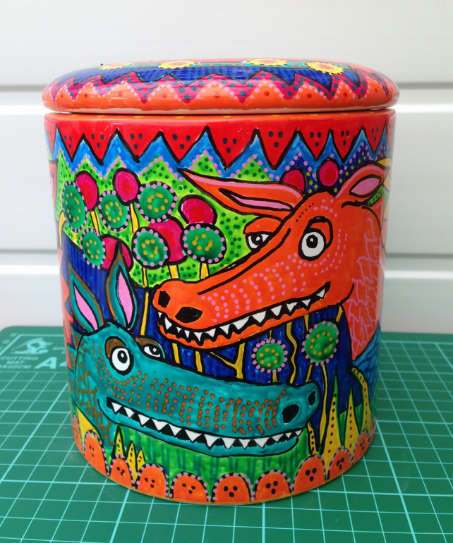 Handpainted Dragon Biscuit Storage Jar