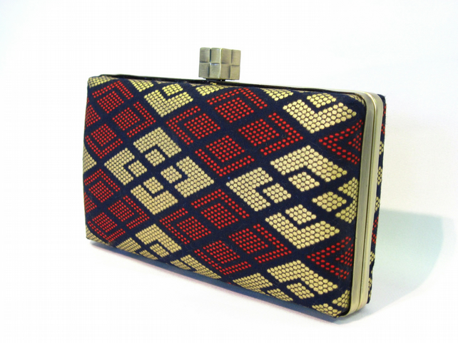 Box clutch bag - navy red and gold