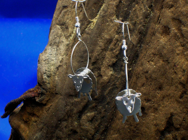 Sterling silver 3D Sheep earrings - Free UK postage