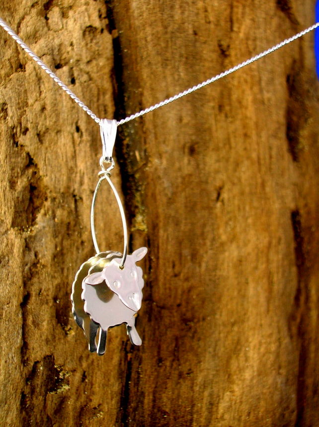 Sterling silver 3D Sheep Pendant - Free UK postage