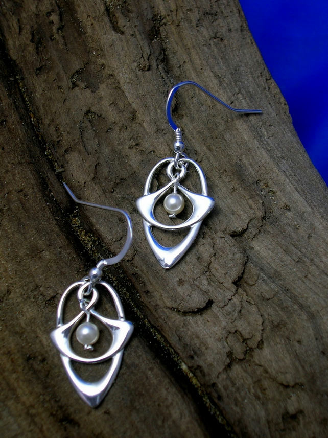DE 31 Celtic - Art Nouveau  Silver and Pearl Earrings - Free UK postage
