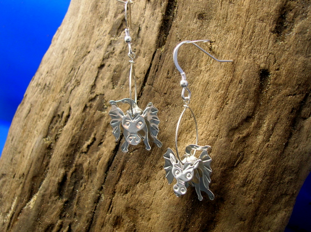 Sterling silver 3D Dragon earrings - Free UK postage