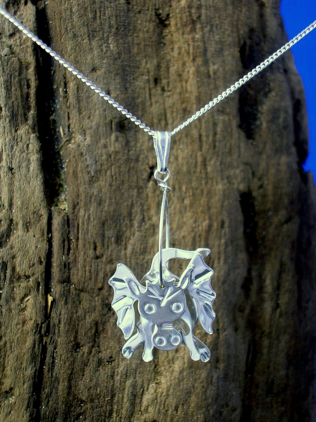 Sterling silver 3D Dragon Pendant - Free UK postage