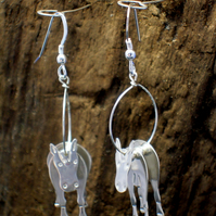 Sterling silver 3D Horse earrings - Free UK postage