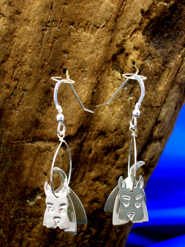 Sterling silver 3D Scottie Dog earrings - Free UK postage