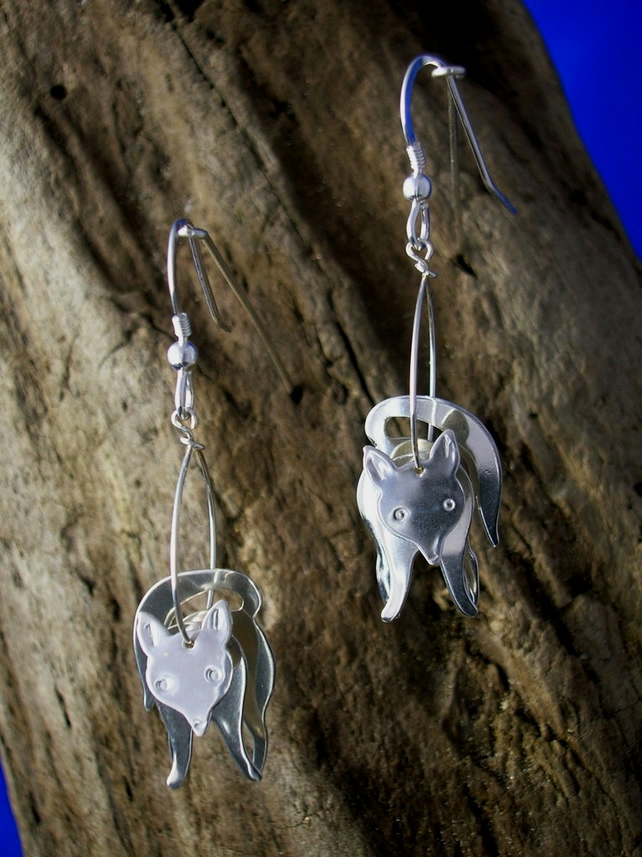 Sterling silver 3D Fox Earrings - Free UK postage