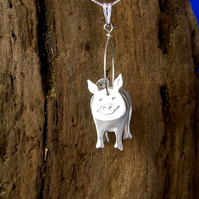 Sterling silver 3D Pig Pendant - Free UK postage