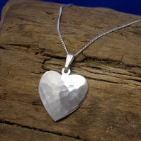 P 42 Medium Silver Heart Pendant - Free UK postage