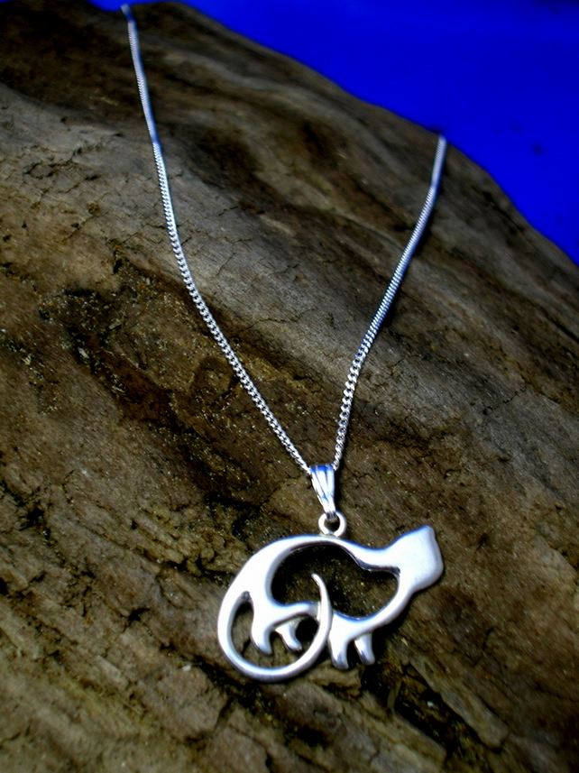 Cat Pendant Celtic -  Art Nouveau Sterling Silver - Free UK postage
