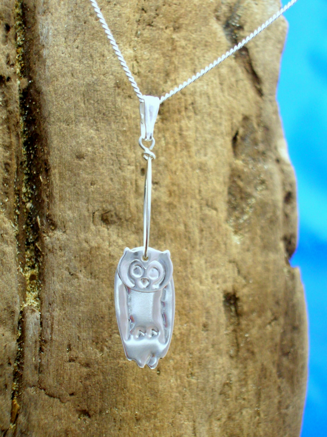 Sterling silver 3D Owl Pendant - Free UK postage
