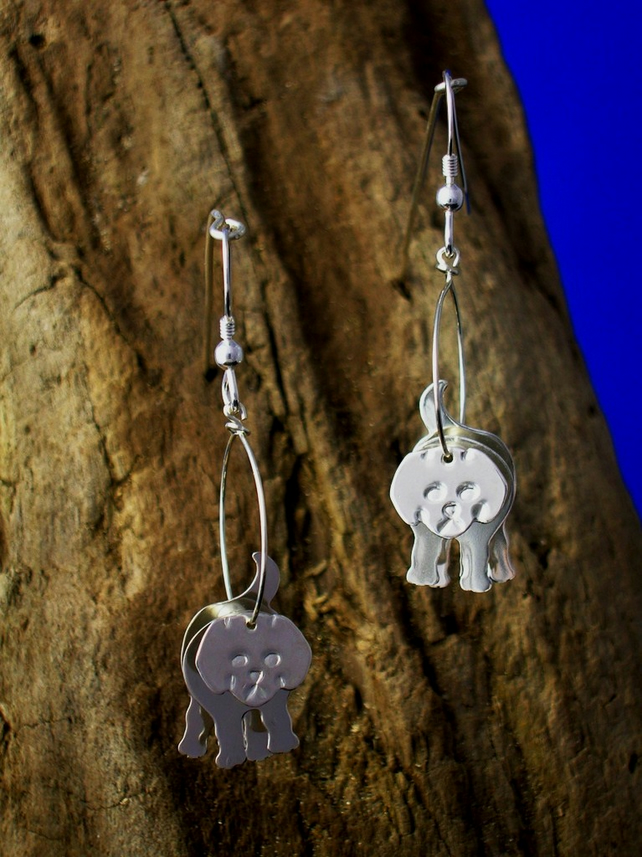 Sterling silver 3D Puppy earrings - Free UK postage