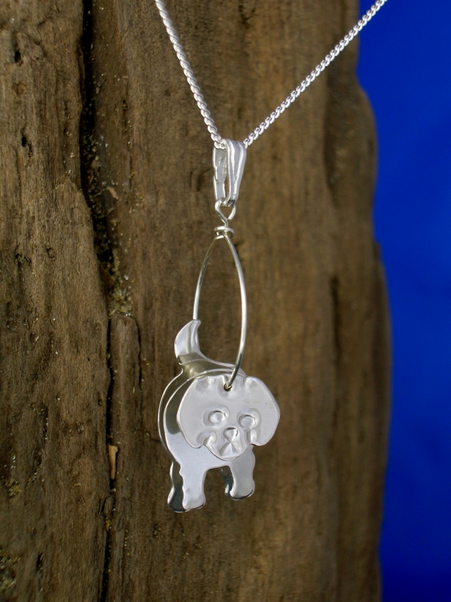 Sterling silver 3D Puppy Pendant - Free UK postage