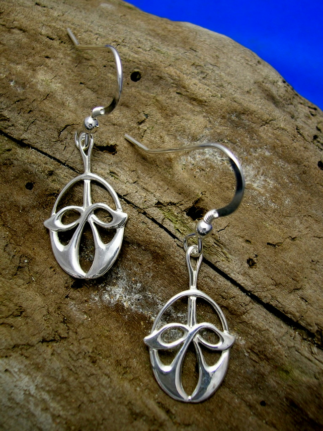 DE 7 Sterling Silver Celtic - Art Nouveau Earrings - Free UK postage