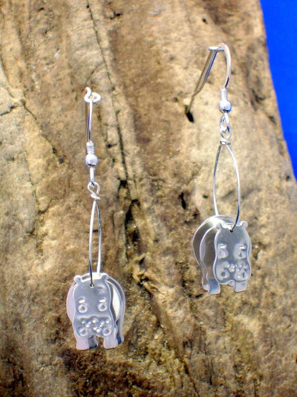 Sterling silver 3D Hippo earrings - Free UK postage