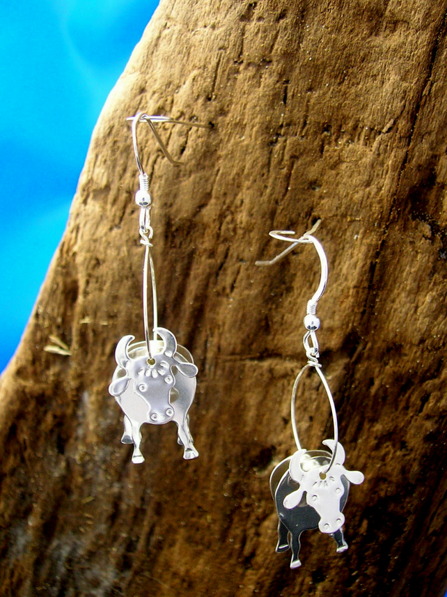 Sterling silver 3D Cow earrings - Free UK postage