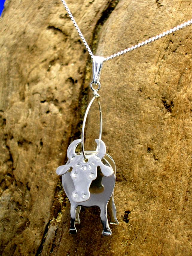 Sterling silver 3D Cow Pendant - Free UK postage