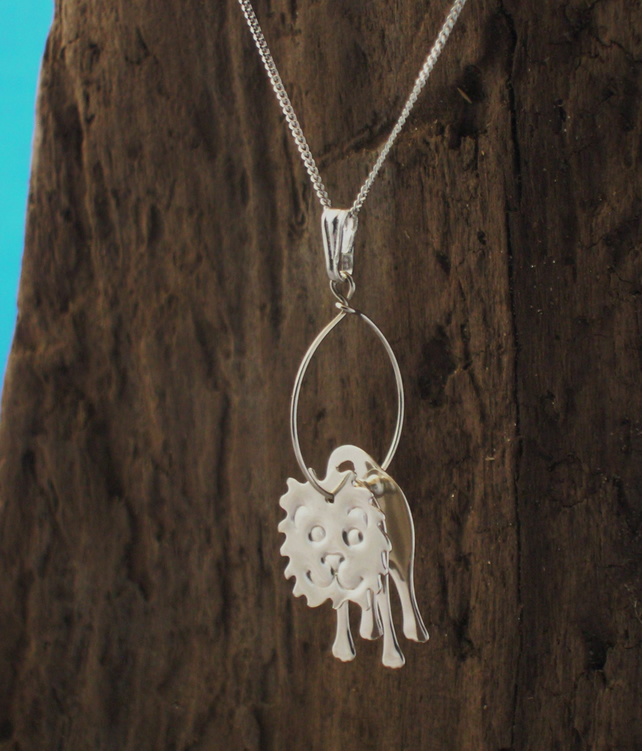 Sterling silver 3D Lion Pendant - Free UK postage