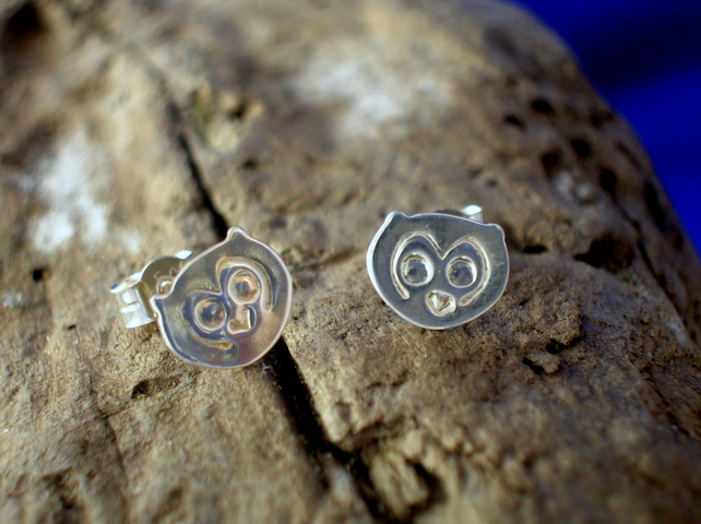 Silver Owl Studs - Free UK postage