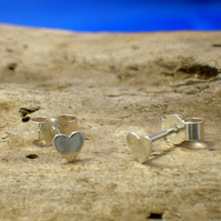 Silver Small Heart Studs - Free UK postage