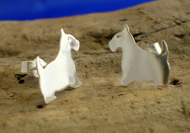 Silver Scottie Dog Studs - Free UK postage