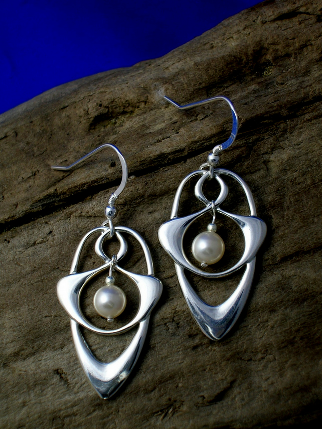 DE 5 Celtic - Art Nouveau  Silver and Pearl Earrings - Free UK postage
