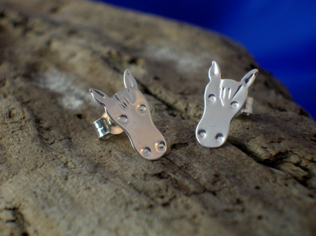 Silver Horse Head Studs - Free UK postage