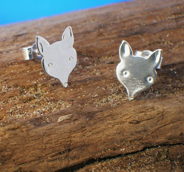 Silver Fox Head Studs - Free UK postage