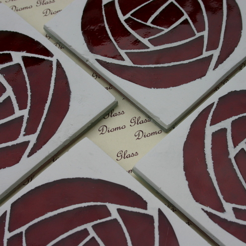 Glass Rose Coasters