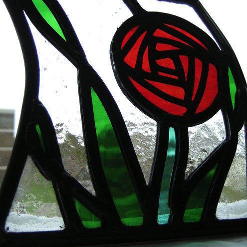Mini Rose Stained Glass Panel