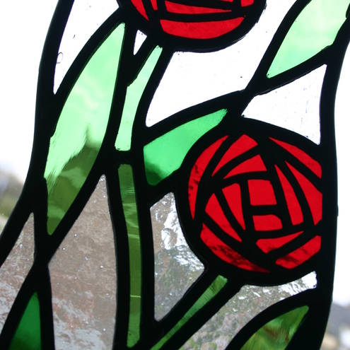 Stained Glass Roses Panel