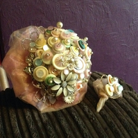 Blush beauty bouquet. Cream and pink button and brooch bouquet with a buttonhole