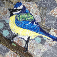 Blue tit free style embroidery fabric collage