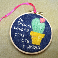 Bloom Where You Are Planted Cactus Hoop Art