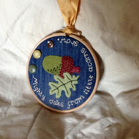 From Little Acorns Embroidered Acorn and Oak Leaf Hoop Art
