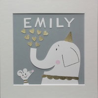 Elephant and Mouse Personalised Nursery Papercut Collage