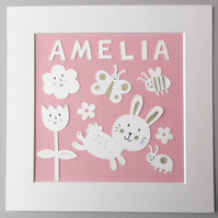 Bunny Personalised Nursery Papercut Collage, handcut with hand drawn details