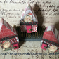 trio of mini christmas houses - vintage red and white