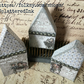 trio of mini christmas houses - vintage blue and silver