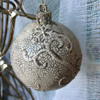 christmas bauble - vintage crackled bauble