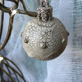 christmas bauble - vintage crackled bauble -