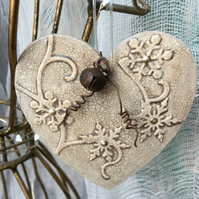 wooden vintage crackle heart textured bauble decoration