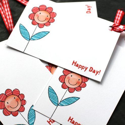 Happy Flower Gift Tags